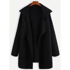 Black Notch Collar Open Front Sweater Coat (€27) ❤ liked on Polyvore featuring outerwear, coats, black, long sweater coat, long lapel coat, lapel coat, sweater coat and leather-sleeve coats