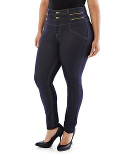 2fd72cd498023 Plus-Size High Zip-Waist Jeggings at Rainbow Plus - wish I bought more