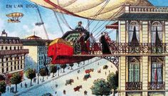 One of Albert Robida's imagining of the year 2000, drawn in the 19th century