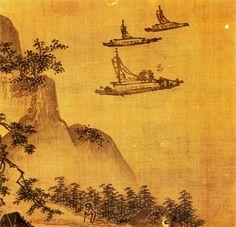 尹毅立, 山水圖─6면중 하(夏), 17세기 전반, 화첩, 비단에 담채, 각21.5×22.2㎝, 國立中央博物館 Yun Ŭi-rip : Landscape (A leaf from Six-Leaf Album), Light color on silk, Joseon period(first half of 17th)