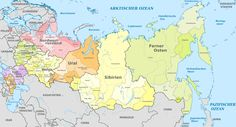Federal districts and subjects of Russia. The districs are called okrug in Russian, and the subjects include republics, territories (kray), and regions (oblast).