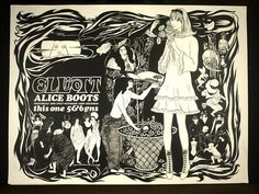 Elliott Alice Boots    Object:  Poster    Place of origin:  London, England (printed)    Date:  ca.1966 (printed)    Artist/Maker:  Christadoulou, Paul, born 1937 (designer)   Beardsley, Aubrey Vincent, born 1872 - died 1898 (after, illustrator)    Materials and Techniques:  Lithography