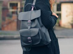 Pepper, black leather backpack  by Grafea www.grafea.co.uk