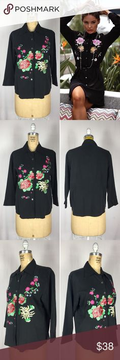 """Vintage Silk Botanical Floral Embroidered Blouse Vintage Black Luxe Silk Blend Embroidered Floral Front Blouse. Excellent vintage condition. Silk and cotton twill. Asian iBotanical floral embroidery. Cropped roll cuff sleeves. Unlined. Labeled a Size Medium. Measurements of the item in inches: Bust: 38"""" Waist: 38"""" Hips: 40"""" Sleeves: 18"""" Length: 23"""" Feel free to contact me with any questions you may have. Please take a look at my other unique listings too. Thanks! Styling inspiration gucci…"""