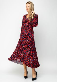 Take a walk on the wild side with this red dress from Ella Boo which features a blue and black animal print throughout. A stylish choice to take you f Black Animals, Crepe Fabric, Plain Black, Wrap Dress, Stylish, Red, Color, Shopping, Clothes