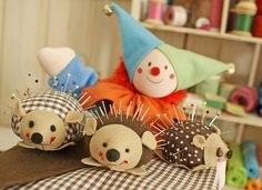 Hedgehog pincushions- all signs point to getting back into sewing.