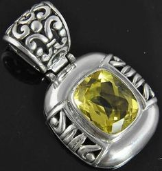New Sterling Silver Cushion Cut Yellow Zircon Solitaire Slide Pendant NWOT