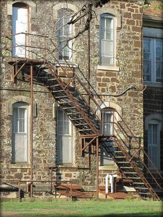 Fire escape at the old stone school in Brookville, Kansas. The school  closed in the 1990s.