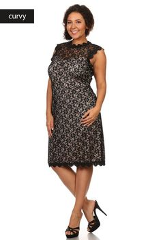 'All Things Beautiful' Dress - This stunning and classy lace sheath dress is a must have for any cocktail event! This high quality sleeveless dress features a mock lace edge jewel neckline and crochet trim. This true to size dress is fully lined with a zip-up back closure. When you wear this dress, you'll feel that all things are beautiful! Available in Black. Size: 1XL, 2XL, 3XL