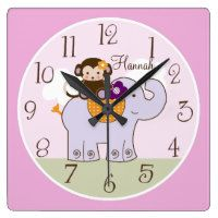 Personalized Jacana Monkey on Elephant Baby Clock