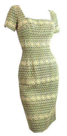 Olive Green and Ecru Lace Wiggle Dress circa 1950s - Dorothea's Closet Vintage