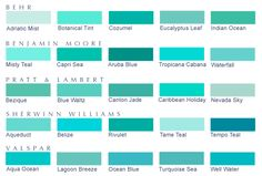 shades of teal | Twenty-five blue-green paint colors, 5 each from: Behr, Benjamin Moore ...       Mead Wedding Colors :  Tropicana Cabana, Black, White