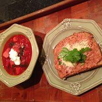 "Homemade Borscht with a dollop of Sour Cream Soup. Open faced ""Big Frank"" & green onion sandwhich."