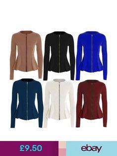 585614a99231d Coats   Jackets Womens Ladies Zip Peplum Ruffle Plus Size Tailored Blazer  Jacket Top Size 8 - 26