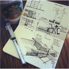 """Simply modern"" process sketch working out the roofs and interlocking volumes around a dogtrot 