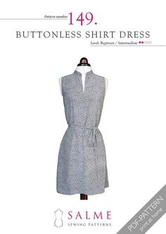 Pattern no 149 Buttonless shirt dress from Salme Sewing Patterns