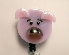 Retractable badge holder Fused Glass Pig (Pink)