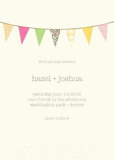 bunting wedding invite. simple.