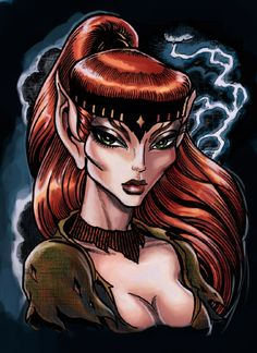 Huntress Skyfire, daughter of Prey Pacer & Wreath, half-sister of Two Spear, 5th Chief of the Wolfriders. Skyfire was leader of the Hunt for many years while her brother ruled the tribe & many looked to her for guidance when Two Spear was unreasonable. She challenged her brother for the Chieftainship when he decided they would go to war with the humans who vastly outnumbered them. She lost the challenge but Two Spear left with his followers & Skyfire became Chief of those who stayed.