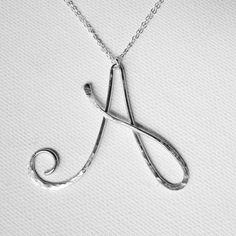 Letter Necklace Silver Letter A Necklace by BelleAtelierJewelry