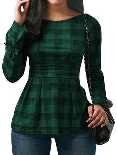 Girls's Clothes, Tops & Tees, Tunics, Womens Peplum Tops Plaid Lengthy Sleeve Tie … - Life Style Tunic Shirt, Shirt Blouses, Style Feminin, Latest Fashion For Women, Womens Fashion, High Fashion, Cheap Fashion, Blouse Designs, Blouses For Women
