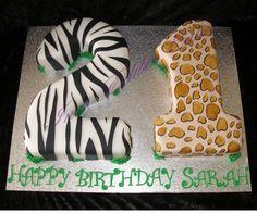 21st jungle themed birthday cake