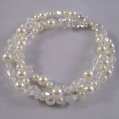Bridal Bracelet Pearl and Swarovski Crystals £33.00