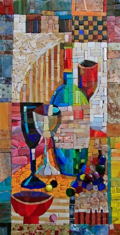 мозаичная картина Натюрморт с бутылкой