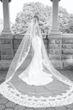 Wholesale Wedding Veils - Buy 2014 New Best Selling Long Veil One Layer Tulle Wedding Veils Appliques/Lace Bridal Veils Three Meters White Ivory Veils for Wed, $61.79 | DHgate