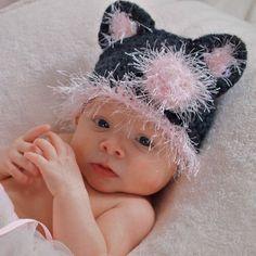 Baby Girl Cat Kitten Hat Newborn Infant Beanie by BabyGraceHats, $24.00