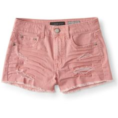 Seriously Stretchy High-Waisted Color Wash Denim Shorty Shorts ❤ liked on Polyvore featuring shorts, high waisted destroyed shorts, denim shorts, high-rise shorts, stretch denim shorts and distressed denim shorts