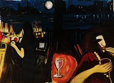 a continuing series of images with people in bars and restaurants and the study of contrasting light and dark This painting was inspired by the waterfront of New York City And New Jersey Gold coast.  I was moved by the full moon and the dramatic light of this out door indoor setting..it seemed almost surreal
