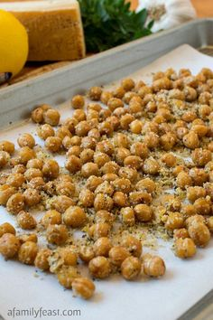 Crispy Parmesan Chickpeas - A delicious, healthy snack that takes just minutes to make!