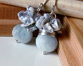 Aqua blue, Aquamarine earrings with silver keshi pearls Weddings bridal prom graduation