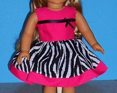 American Girl Doll Clothes - Zebra Print Dress with Shocking Pink Bodice - 18 Inch Doll Clothes