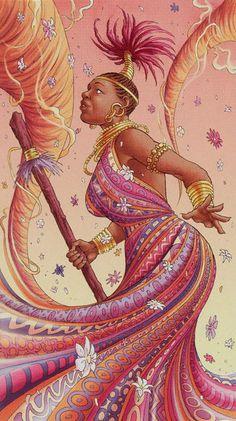 Le valet de bâtons - Tarot déesse universelle par Antonella Platano & Maria Caratti