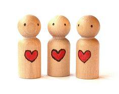 Valentine - Waldorf Peg People - Heart - Children's Personalized Gift - Montessori Toys - Chrstimas Present - SALE