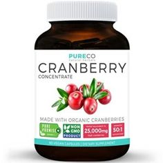 Organic Cranberry Concentrate - of Fresh Cranberries (Equivalent) For Kidney Cleanse & Urinary Tract Health - UTI Support Vitamins - Fruit Extract Supplement - 60 Vegan Capsules No Pills Healthy Detox, Healthy Drinks, Detox Foods, Diet Detox, Cranberry Pills, Cranberry Extract, Kidney Detox Cleanse, Green Detox Smoothie