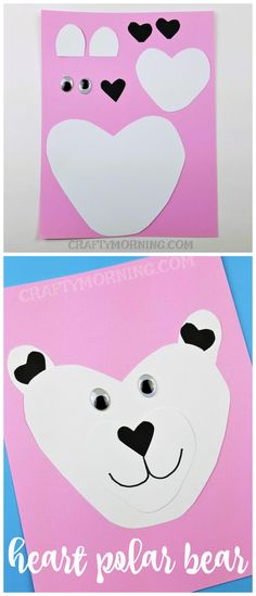 Heart shaped polar bear valentines day craft for kids to make! Fun vday idea for cards.