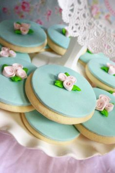 Pretty cookies at a Shabby Chic Princess Party #shabbychic #princesspartycookies