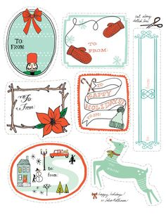 Whimsical holiday gift tags in red and blue.