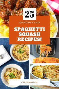 25 Spaghetti Squash Recipes You Must Try! | You'll find all the best spaghetti squash recipes here including baked spaghetti squash, spaghetti squash burgers, instapot spaghetti squash & so much more!! Houston Food Blogger #healthyrecipes #food #recipe