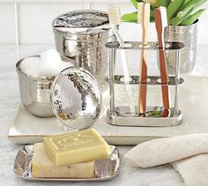 Hammered Nickel Bath Accessories #potterybarn