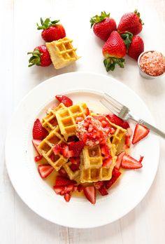 Strawberry Swirled Cornmeal Waffles. - Layers of Happiness