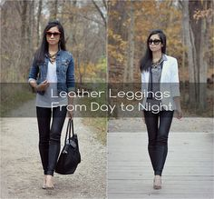 Sydney's Fashion Blog - Petite Lookbook, Fashion Steals and Deals: Fall 2013 Trend: Leather leggings from day to night