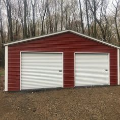 Steel Garage in Flint, Michigan Steel Carports, Flint Michigan, Steel Garage, Metal Garages, Roll Up Doors, Steel Buildings, White Trim, This Is Us, Shed