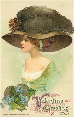♥ green plume and green dress vintage lady Valentine Greetings Clip Art Vintage, Images Vintage, Vintage Pictures, Vintage Postcards, Victorian Hats, Victorian Women, Old Illustrations, Retro, Victorian Pictures
