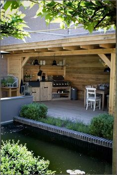 Outdoor Kitchen Ideas - An exterior cooking area will make your residence the life of the event. Use our layout ideas to help create the ideal room for your outdoor kitchen devices. Outdoor Rooms, Outdoor Gardens, Outdoor Living, Outdoor Decor, Outdoor Kitchens, Outdoor Life, Outdoor Bars, Rustic Outdoor, Luxury Kitchens
