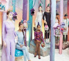 A forest-y fashion set design by Gary Card.