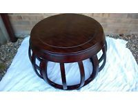 Unusual Round Solid Dark Wood Coffee Table Excellent Condition